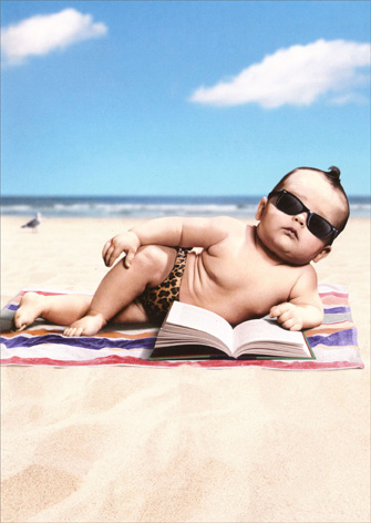 Sunbathin' Baby (1 card/1 envelope) Avanti Funny Friendship Card - FRONT: No Text  INSIDE: How YOU doin'?!