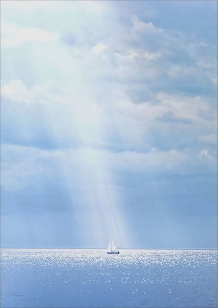 Sailboat Under Sky (1 card/1 envelope) Avanti Sympathy Card - FRONT: No Text  INSIDE: Every ripple a memory, every memory a blessing. With sympathy