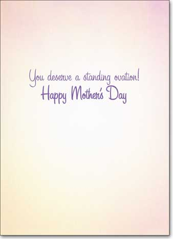 Kitty Konductor Avanti Mother's Day Card - FRONT: No Text  INSIDE: You deserve a standing ovation! Happy Mother's Day