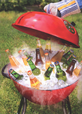 Grill with Ice and Beer Funny Avanti Father's Day Card - FRONT: No Text  INSIDE: Fire up a cold one! Happy Father's Day