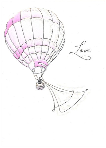 Wedding Balloon (1 card/1 envelope) - Wedding Card - FRONT: Love  INSIDE: ..is the greatest adventure of all! Congratulations