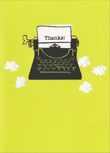 Typewriter (1 card/1 envelope) Avanti A*Press Thank You Card - FRONT: Thanks!  INSIDE: ..says it all!
