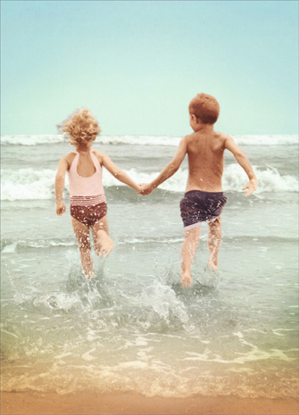 Kid Couple On Beach (1 card/1 envelope) Avanti Romantic Card - FRONT: No text  INSIDE: You make my heart skip!