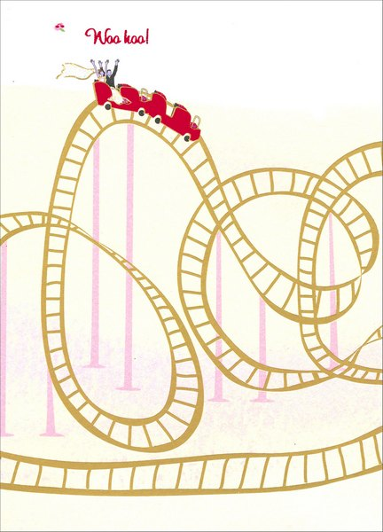 Roller Coaster (1 card/1 envelope) Avanti A*Press Glitter Wedding Card - FRONT: Woo hoo!  INSIDE: Thrilled for you! Congratulations on your Wedding