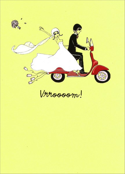 Wedding Scooter (1 card/1 envelope) Avanti A*Press Glitter Wedding Card - FRONT: Vrroooom!  INSIDE: here's to a wonderful new life together! Congratulations