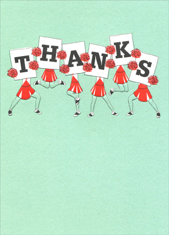 Cheerleader Thanks (1 card/1 envelope) Avanti A*Press Glitter Thank You Card - FRONT: THANKS  INSIDE: You made my day!