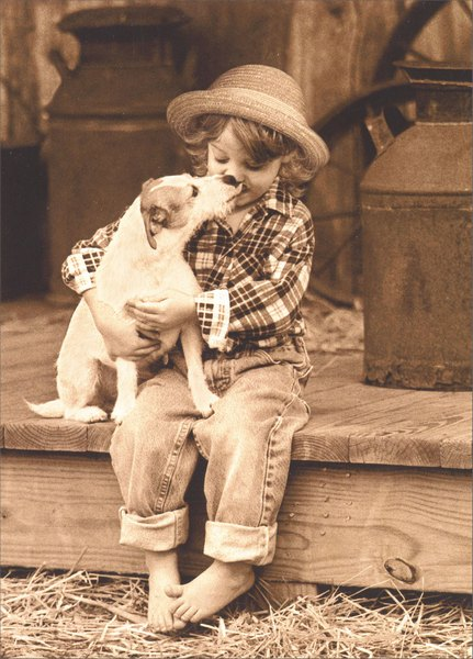 Girl Holds Jack Russell (1 card/1 envelope) - Friendship Card - FRONT: No text  INSIDE: Sending you a little hug!