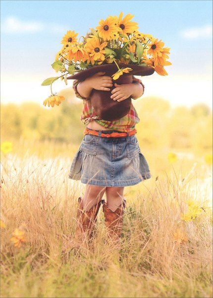 Girl Holding Hat Of Flowers (1 card/1 envelope) Avanti Funny Thank You Card - FRONT: No text  INSIDE: Thanks a bunch!
