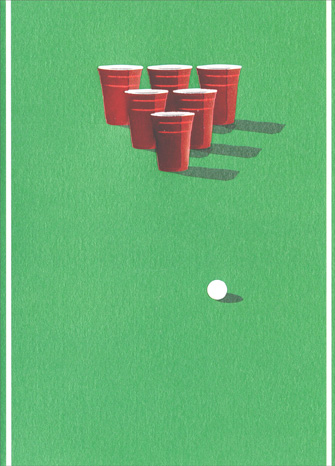 Beer Pong (1 card/1 envelope) Avanti A*Press Birthday Card - FRONT: No text  INSIDE: Bappy Hirthday!