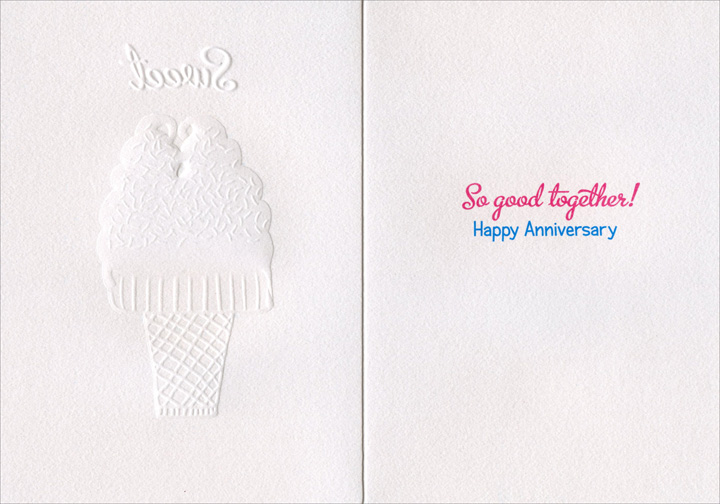 Double Cone (1 card/1 envelope) Avanti A*Press Glitter Anniversary Card - FRONT: Sweet  INSIDE: So good together!  Happy Anniversary