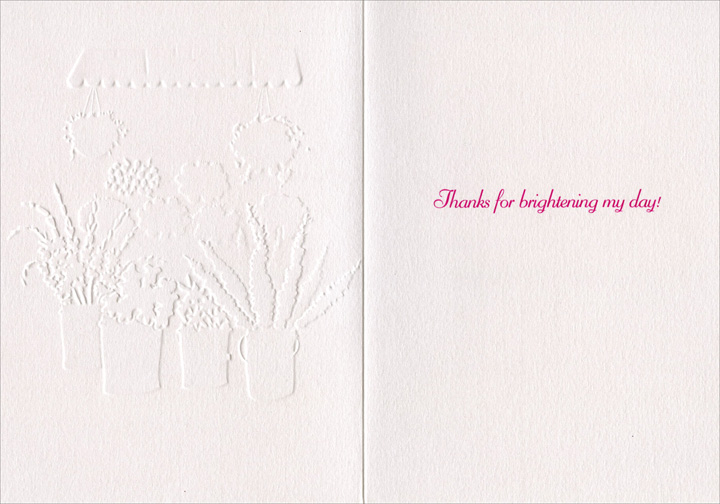 Flower Cart (1 card/1 envelope) Avanti A*Press Glitter Thank You Card - FRONT: No text  INSIDE: Thanks for brightening my day!