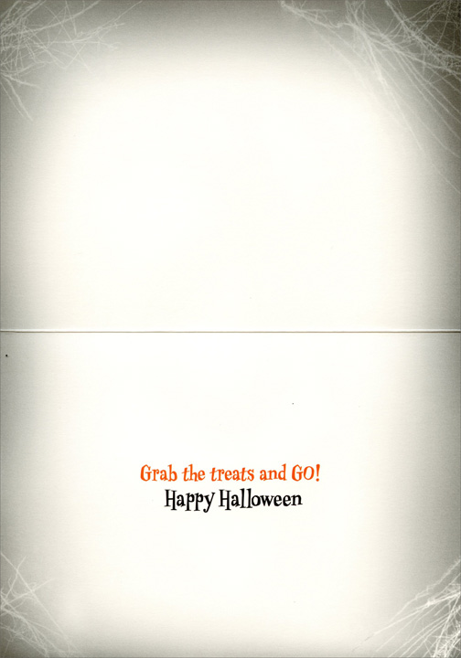 Dog on Coffin (1 card/1 envelope) Avanti Funny Halloween Card - FRONT: No text  INSIDE: Grab the treats and Go!  Happy Halloween