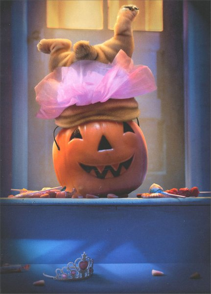 Dog Legs in Pumpkin (1 card/1 envelope) Avanti Funny Halloween Card - FRONT: No text  INSIDE: I'm just in it for the candy!  Happy Halloween