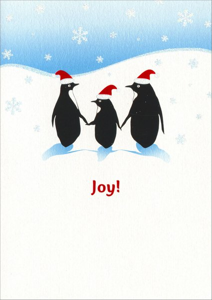 Penguin Family (1 card/1 envelope) Avanti A*Press Christmas Card - FRONT: Joy!  INSIDE: ..is meant to be shared!   Merry Christmas