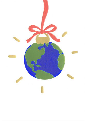 World Ornament (1 card/1 envelope) Avanti A*Press Christmas Card - FRONT: No Text  INSIDE: Joy to the World! Merry Christmas