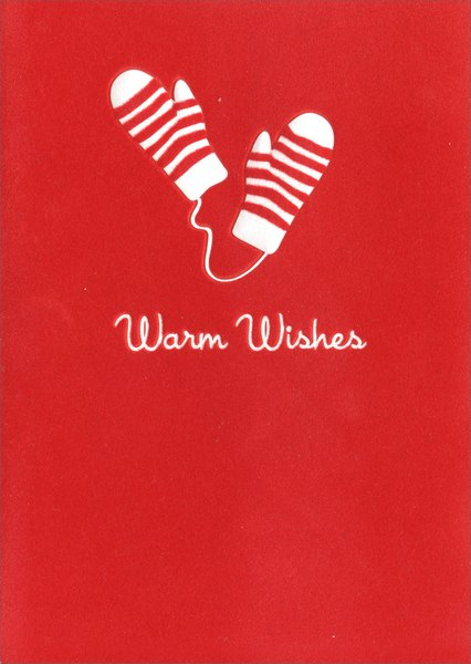 Striped Mittens (1 card/1 envelope) - Christmas Card - FRONT: Warm wishes  INSIDE: ..for a wonderful season!  Happy Holidays
