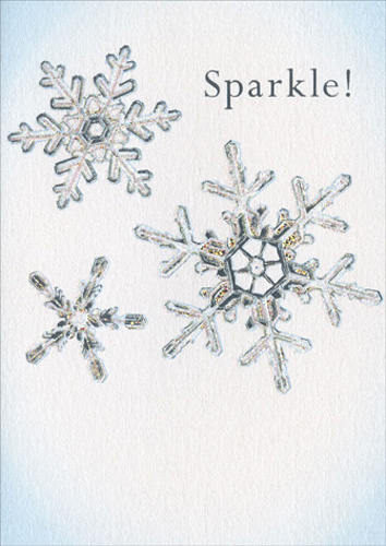Snowflakes (1 card/1 envelope) Avanti A*Press Christmas Card - FRONT: Sparkle!  INSIDE: Hope your holidays are dazzling!  Merry Christmas