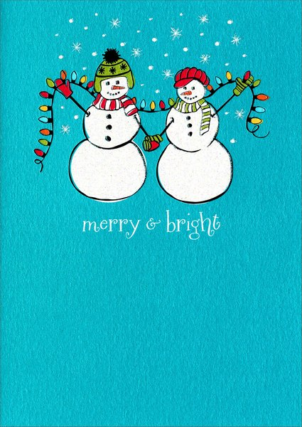 Snow People (1 card/1 envelope) Avanti A*Press Christmas Card - FRONT: merry & bright  INSIDE: happy holidays to you and yours!