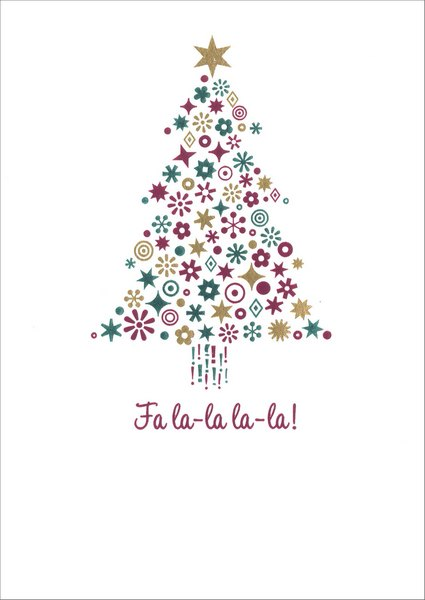 Symbol Tree (1 card/1 envelope) - Christmas Card - FRONT: Fa la-la la-la!  INSIDE: Hope your holidays are filled with light and laughter!  Merry Christmas
