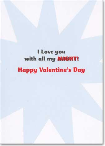 Dog In Streetscape (1 card/1 envelope) - Valentine's Day Card  INSIDE: I love you with all my might! Happy Valentine's Day