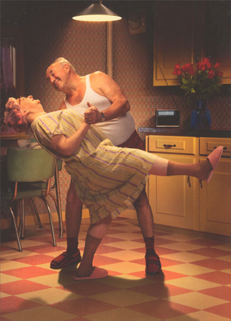 Couple In Kitchen/Dance & Dip (1 card/1 envelope) - Valentine's Day Card  INSIDE: You knock my socks off! Happy Valentine's Day