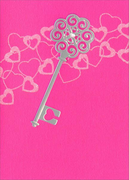 Key (1 card/1 envelope) Avanti A*Press Valentine's Day Card  INSIDE: I love you with all my heart!  Happy Valentine's Day