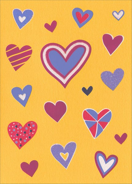 Quirky Hearts (1 card/1 envelope) Avanti A*Press Foil & Glitter Valentine's Day Card  INSIDE: I he(heart icon)rt you!  Happy Valentine's Day