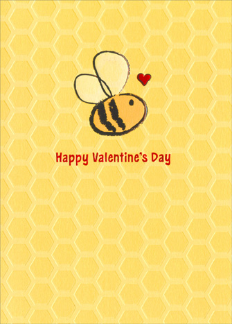 Bumble Bee (1 card/1 envelope) Avanti A*Press Foil & Embossed Valentine's Day Card - FRONT: Happy Valentine's Day  INSIDE: And all that buzz!