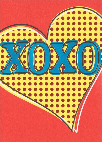 Xoxo Heart (1 card/1 envelope) - Valentine's Day Card - FRONT: XOXO  INSIDE: Happy Valentine's Day!