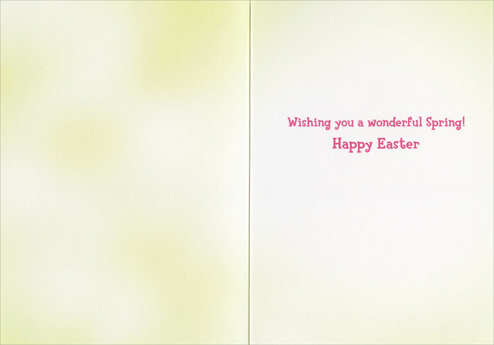 Girl & Bunny In Overalls (1 card/1 envelope) Avanti Easter Card  INSIDE: Wishing you a wonderful Spring! Happy Easter