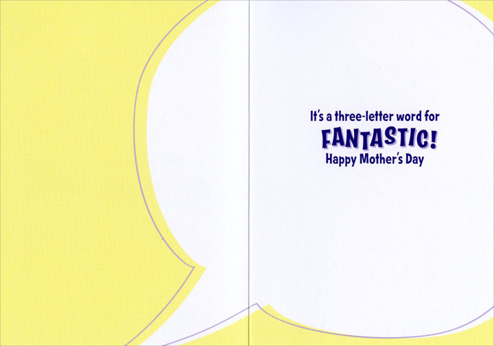 Mom Sky Signal (1 card/1 envelope) Avanti Funny Mother's Day Card  INSIDE: It's a three-letter word for FANTASTIC! Happy Mother's Day