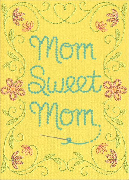 Cross Stitch (1 card/1 envelope) Avanti A*Press Embossed Mother's Day Card - FRONT: Mom Sweet Mom  INSIDE: When I count my blessings � I always start with you! Happy Mother's Day