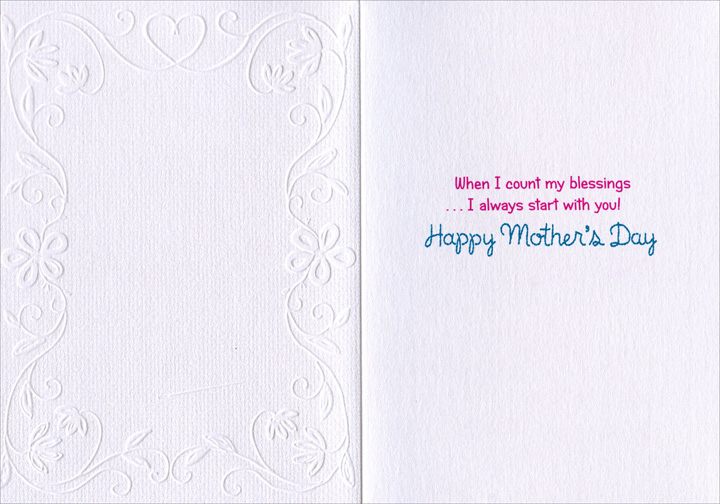 Cross Stitch (1 card/1 envelope) Avanti A*Press Embossed Mother's Day Card - FRONT: Mom Sweet Mom  INSIDE: When I count my blessings … I always start with you! Happy Mother's Day