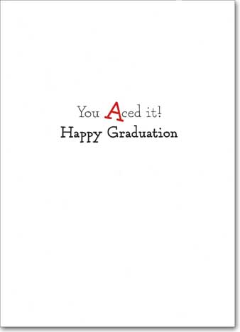 Cat With Standardized Test (1 card/1 envelope) - Graduation Card  INSIDE: You aced it! Happy Graduation