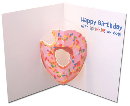 Donut Dog (1 card/1 envelope) Avanti Stand Out Pop Up Birthday Card - FRONT: Yummm!  INSIDE: Happy Birthday with sprinkles on top!