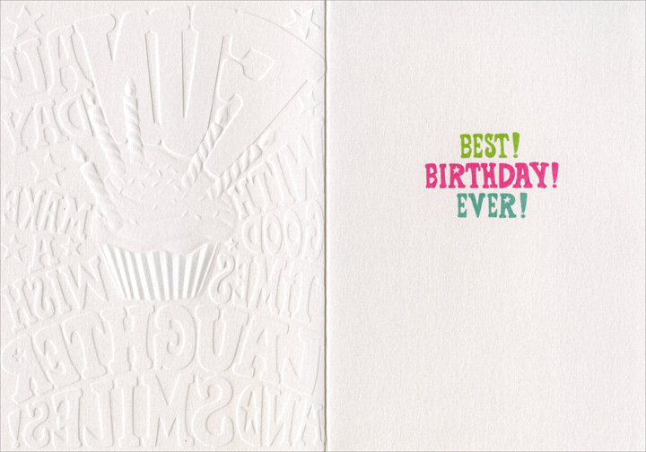 Fun Type & Cupcake (1 card/1 envelope) Avanti A*Press Glitter & Embossed Birthday Card - FRONT: Fun all day with good times make a wish laughter and smiles!  INSIDE: Best! Birthday! Ever!