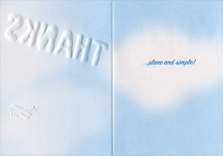 Plane In Clouds (1 card/1 envelope) - Thank You Card - FRONT: Thanks  INSIDE: �plane and simple!