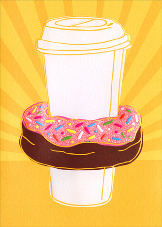 Coffee And Donut (1 card/1 envelope) Avanti A*Press Glitter Friendship Card  INSIDE: Breakfast of Champions!