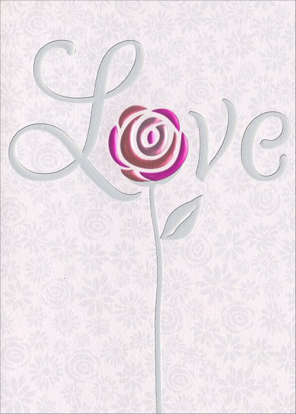 Love Floral (1 card/1 envelope) Avanti A*Press Glitter Wedding Card - FRONT: Love  INSIDE: Love is all you need! Best wishes on your wedding