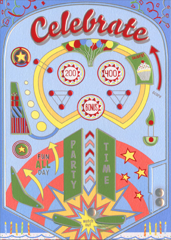 Pinball Machine (1 card/1 envelope) Avanti A*Press Glitter Birthday Card - FRONT: Celebrate  INSIDE: Happy Birthday with all the bells and whistles!