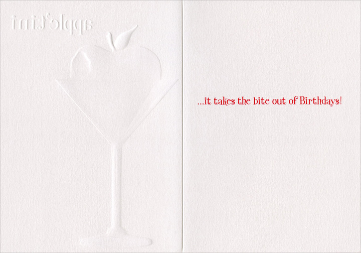 Apple-Tini (1 card/1 envelope) Avanti A*Press Glitter Birthday Card - FRONT: apple'tini  INSIDE: �it takes the bite out of Birthdays!