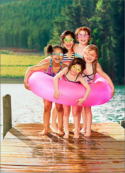 Kids In Inner-Tube (1 card/1 envelope) Avanti Funny Birthday Card  INSIDE: Happy Birthday � from your inner circle!