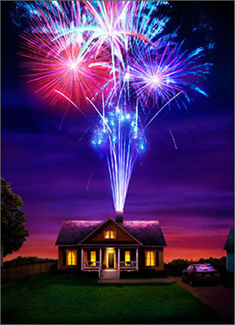 House With Fireworks (1 card/1 envelope) - Anniversary Card  INSIDE: The spark's still there! Happy Anniversary