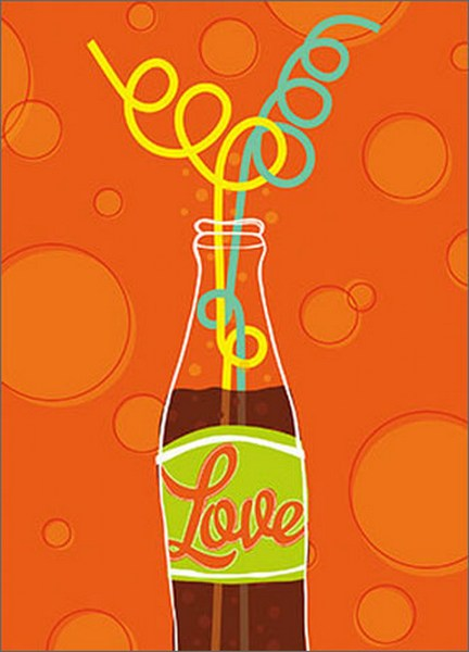 Crazy Straws In Bottle (1 card/1 envelope) Avanti A*Press Romantic Card - FRONT: Love  INSIDE: You. Me. Soda-licious!