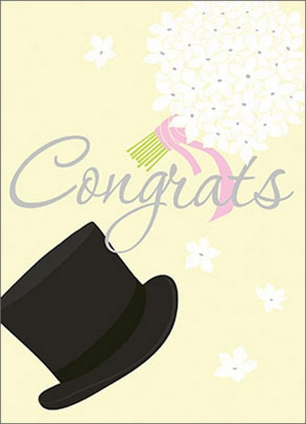 Top Hat And Nosegay (1 card/1 envelope) Avanti A*Press Wedding Card - FRONT: Congrats  INSIDE: Happy Wedding Day to a classy couple!