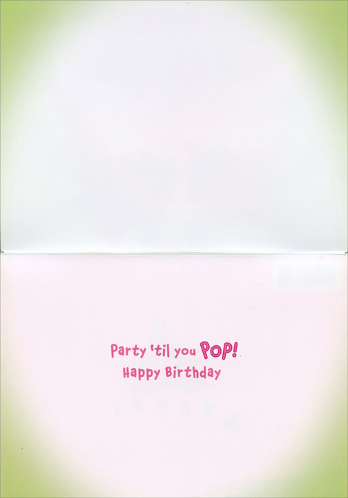 Surprised Cat With Gum On Face (1 card/1 envelope) - Birthday Card  INSIDE: Party 'till you pop! Happy Birthday