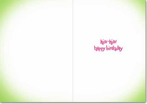 Frog Gaint Eyelashes (1 card/1 envelope) Avanti Lenticular Motion Birthday Card  INSIDE: Kiss-Kiss! happy birthday