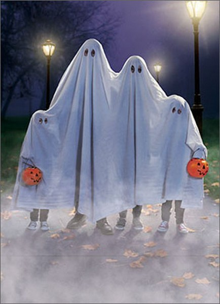 Ghost Family (1 card/1 envelope) Avanti Funny Halloween Card  INSIDE: Group Boo! Happy Halloween