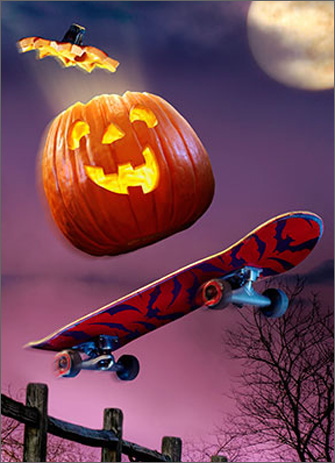 Pumpkin On Skateboard (1 card/1 envelope) Avanti Funny Juvenile Halloween Card  INSIDE: Wicked Cool! Happy Halloween
