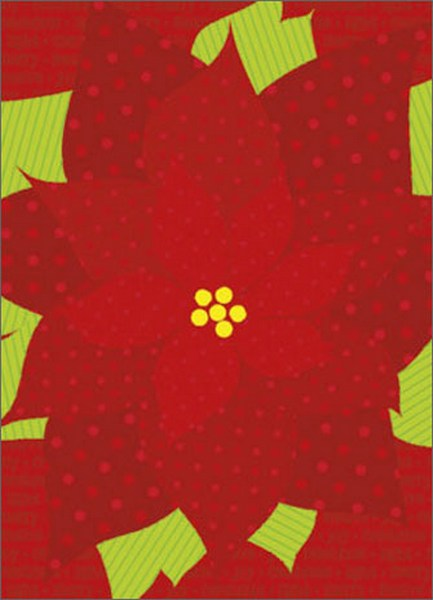 Pointsettia (1 card/1 envelope) Avanti A*Press Glitter and Foil Christmas Card - FRONT: joy - celebrate - light - merry - festive (repeated)  INSIDE: Joy to you and yours! Merry Christmas